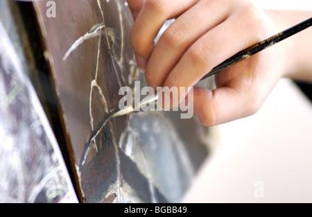 Foto der Malerei Pinsel Lektion Student Klasse Kunsterziehung Stockbild