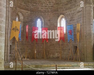 Innenansicht von der ehemaligen Kirche der Hll. Peter und Paul jetzt genannt Sinan Pasa Moschee in Famagusta Zypern, für Konzerte und Veranstaltungen genutzt Stockbild