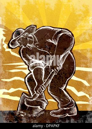 Ein Bauer mit einer Schaufel Stockbild