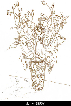 Ein Beispiel für eine Vase mit Rosen Stockbild