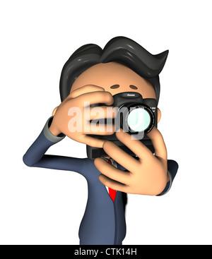 Cartoon-Figur-Fotograf mit Kamera Stockbild