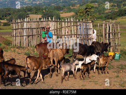 Äthiopischen Frauen am Brunnen zu pumpen, Oromia, Jimma, Äthiopien Stockbild