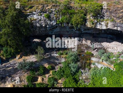 Luftaufnahme von nakuto Lab rock Kirche, Amhara-region, Lalibela, Äthiopien Stockbild