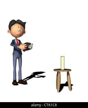 Cartoon Figur Fotograf malen mit Licht Stockbild