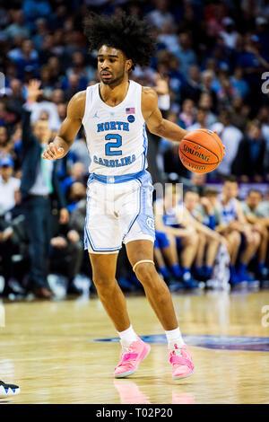 North Carolina Tar Heels guard Coby Weiß (2) Während der ACC College Basketball Turnier Spiel zwischen der Duke Blue Devils und die North Carolina Tar Heels im Spectrum Center am Freitag, den 15. März 2019 in Charlotte, NC. Jakob Kupferman/CSM Stockbild