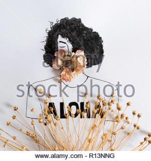 Abbildung einer Person auf einem weißen Hintergrund Stockbild