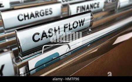 3D Abbildung einer Ordner-Registerkarte mit der Text-Cash-Flow. Buchhaltung-Konzept. Horizontales Bild. Stockbild