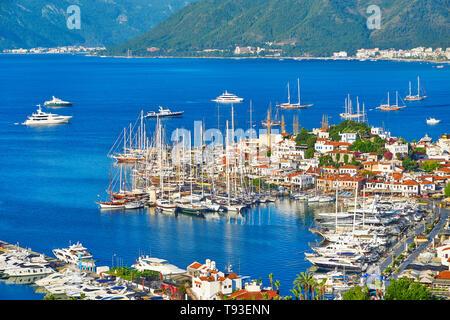 Altstadt und Hafen von Marmaris, Türkei Stockbild