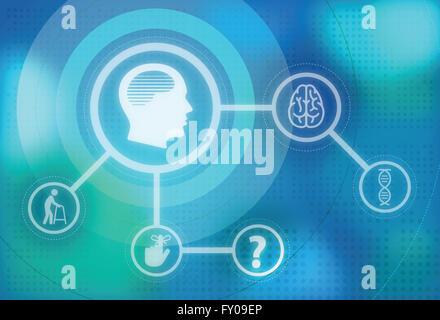 Anschauliches Bild der Alzheimer-Krankheit und ihre Auswirkungen Stockbild
