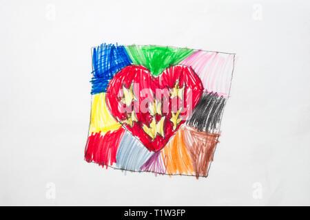 Der Bunte kid Zeichnung mit bunten Herzen. Stockbild