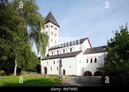 St. Johannis Kirche, UNESCO Weltkulturerbe Oberes Mittelrheintal, Lahnstein, Rheinland-Pfalz, Deutschland Stockbild