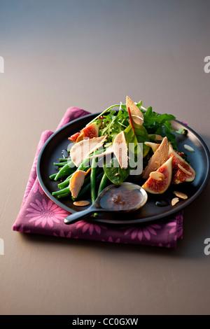 Foie Gras Salat mit Feigen-Chutney Stockbild