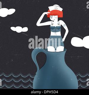Eine junge Frau, gekleidet wie ein Matrose stehend in einem Gefäß Stockbild