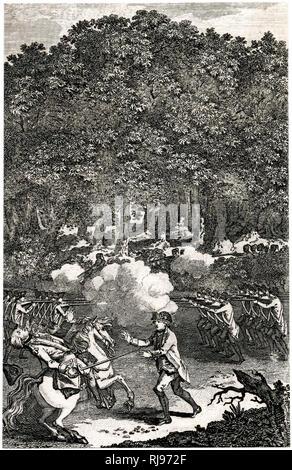 Braddock getötet am Fort Duquesnem in Pennsylvania, USA Stockbild