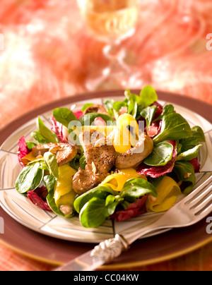 Obst und Gänseleber im Salat Stockbild