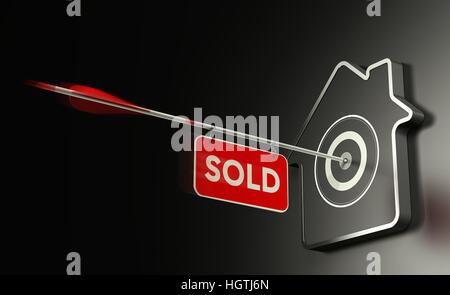 3D Abbildung des am Hause geformten Ziel auf schwarzem Hintergrund und einem Pfeil in der Mitte mit einem Schild Stockbild