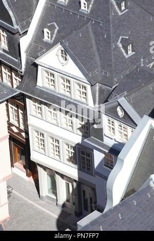Historische Hausfassade, Blick aus dem Turm der Kathedrale, Römerberg, Altstadt rekonstruiert, Frankfurt am Main, Hessen, Deutschland, Europa ich Rekonstruierte h Stockbild