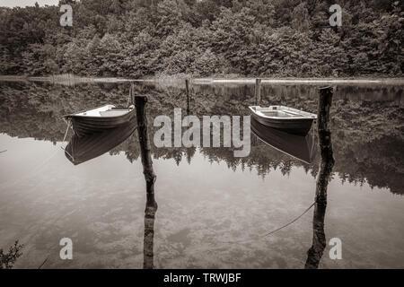 Zwei verkettete Ruderbooten schwimmen in einem See Stockbild