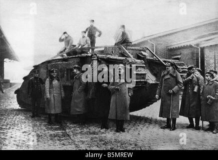9-1917-11-20 A2 26 E WW1 Ger Tank Recovery Bahnhof Cambrai Weltkrieg 1914-18 1 Frankreich Schlacht von Cambrai 20. Stockbild