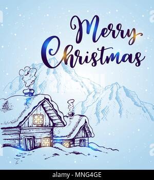 Winterlandschaft mit Häuser und Berge im Schnee auf einem blauen Hintergrund. Hand Weihnachten gezeichnet Grußkarte. Frohe Weihnachten Schriftzug Stockbild
