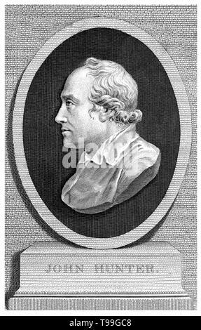 John Hunter (Februar 13, 1728 - Oktober 16, 1793) war ein schottischer Chirurg. Er war ein früher Verfechter der sorgfältigen Beobachtung, wissenschaftliche Methode in der Medizin und eine hervorragende Anatom. Er baute eine Sammlung von lebenden Tieren, deren Skelette und andere Organe, die er als anatomische Proben vorbereitet. Er starb 1793 im Alter von 65 Jahren. Stockbild