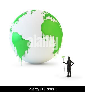 Nasse Farbe tropft aus einem Globus - Umweltschutz Konzept 3D illustration Stockbild
