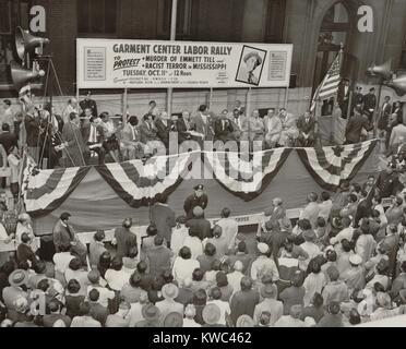 Gegen die Ermordung der afrikanischen amerikanischen Jugendlichen Protest, Emmett Till. Okt. 11, 1955. Die New York Stockbild