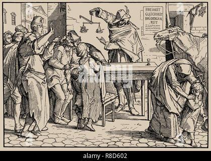 Auch ein Tanz des Todes, Blatt III, 1849. Private Sammlung. Stockbild