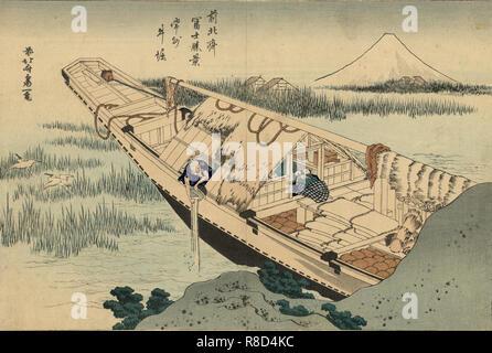 """Hitachi Ushibori in der Provinz (aus der Serie """"36 Ansichten des Berges Fuji""""), 1830-1833. Private Sammlung. Stockbild"""
