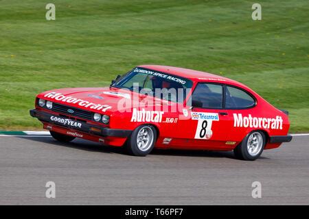 1979 Ford Capri III 3.0s mit Fahrer Mike Jordan während der Gerry Marshall Trophy Rennen in der 77. Goodwood GRRC Mitgliederversammlung, Sussex, UK. Stockbild