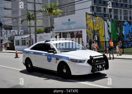 Polizei Auto, Wynwood, Miami, Florida Stockbild