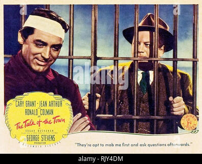 Die REDE VON DER STADT 1942 Columbia Pictures Film mit Cary Grant auf der linken und Edgar Buchanan Stockbild
