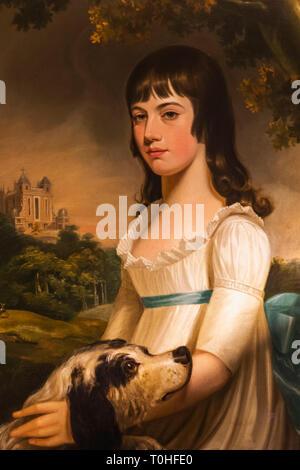 England, London, Greenwich, Royal Observatory, Flamsteed House, Portrait von Margaret Maskelyne (1785-1858), Tochter des Astromomer Royal von William Stockbild