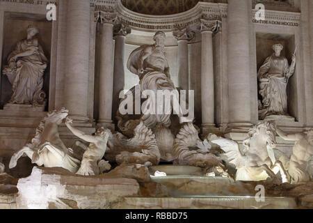Trevi-brunnen in Rom. Detail der Statue Ocean's Stockbild
