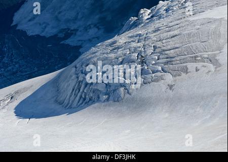Österreich/Nationalpark Hohe Tauern - Auswirkungen des Klimawandels: Gletscher schmelzen. serac Zone am Mount Großglockner. Stockbild