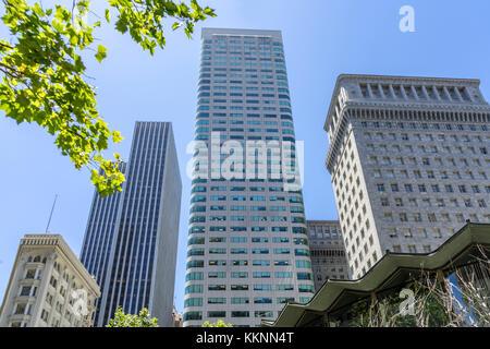 Moderne und historische Architektur, Downtown, San Francisco, Kalifornien, USA Stockbild