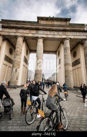 Weihnachten am Brandenburger Tor Berlin Deutschland Stockbild