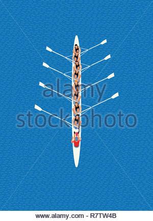 Ansicht von oben der männlichen Rudern acht Team Stockbild