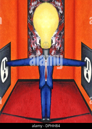 Ein Mann mit einer Glühbirne für einen Kopf, der seine Hände in Steckdosen stecken. Stockbild