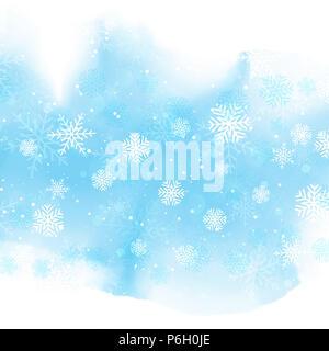 Weihnachten Schneeflocken auf einem Aquarell design Stockbild