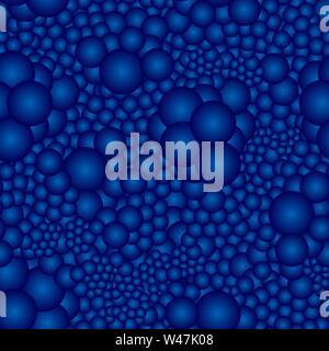 Nahtlose Muster mit blauen volumetrische Sphären. Ideal für Textilien, Verpackung, Papier drucken, einfache Hintergründe und Texturen. Stockbild