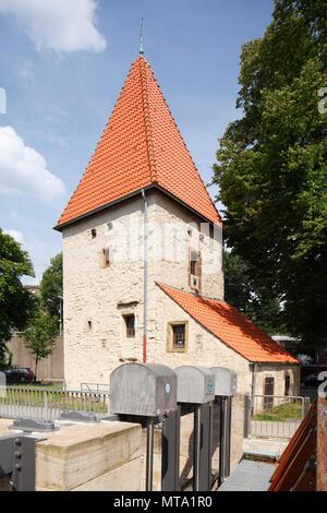 Turm Pernickelturm, Osnabrück, Niedersachsen, Osnabrück, Deutschland, Europa ich Wehrturm Pernickelturm, Osnabrück, Niedersachsen, Osnabrück, alle Informationen über Stockbild