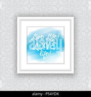 Inspirational Anführungsstrich auf Aquarell Design in hängenden Bilderrahmen Stockbild