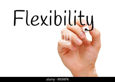 Hand schreiben das Wort Flexibilität mit schwarzem Marker auf Transparenten abwischen. Konzept über die Anpassungsfähigkeit und die Fähigkeit, nach der s ändern Stockbild