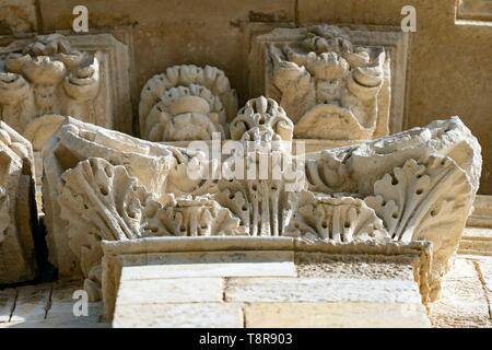 Frankreich, Gironde, Verdon sur Mer, felsigen Plateau von Cordouan, Leuchtturm von Cordouan, als Monument Historique, Mauerwerk Detail aufgeführt Stockbild