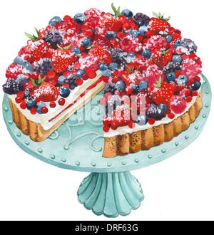 Eine Beere Torte auf eine Kuchenplatte Stockbild