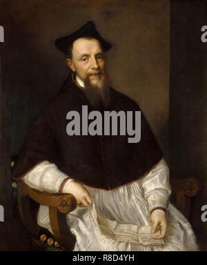 Portrait von Ludovico Beccadelli (1501-1572), Bischof von Bologna, 1552. In der Sammlung der Galleria degli Uffizi, Florenz gefunden. Stockbild