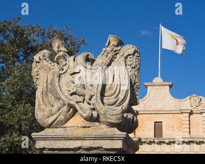 Stein Dekoration außerhalb der Stadtmauern von Mdina der mittelalterlichen ehemalige Hauptstadt von Malta Stockbild