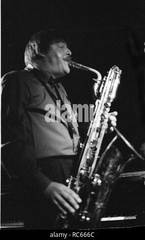 John Surman, Ronnie Scott's, Soho, London, April 1989. Stockbild
