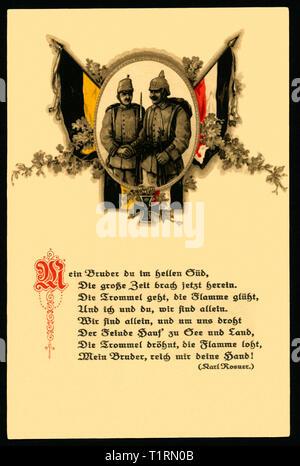 Wk I, Propaganda, patriotische Postkarte als Symbol der deutsch-österreichischen Bündnisses mit einem Gedicht von Karl Rosner (1873-1951). , Additional-Rights - Clearance-Info - Not-Available Stockbild
